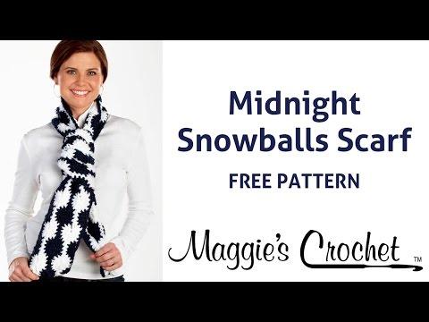 Midnight Snowball Scarf Free Crochet Pattern - Right Handed