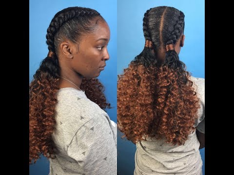 Two feed in braids with curly ponytails