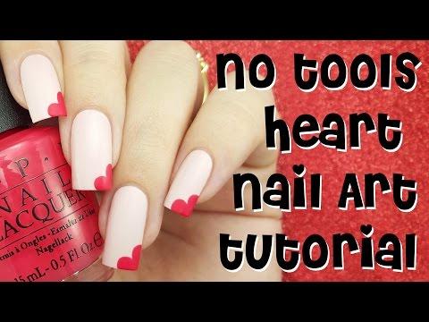 ♡ No Tools Heart Nail Art Tutorial - Valentine's Day Nails ♡
