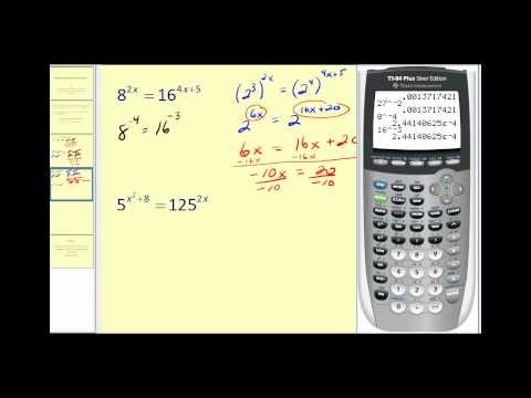 Solving Exponential Equations - Part 1 of 2