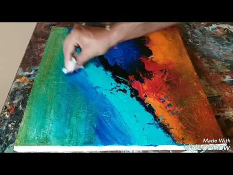 How to texture canvas with gesso # EASY Acrylic abstract painting # Demonstration # 01/02/2017