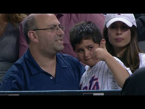 Young fan gets signed ball after getting hit