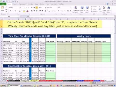Excel 2010 Business Math 44: Payroll Time Sheets, IF Function For Overtime &Gross Pay Calculations