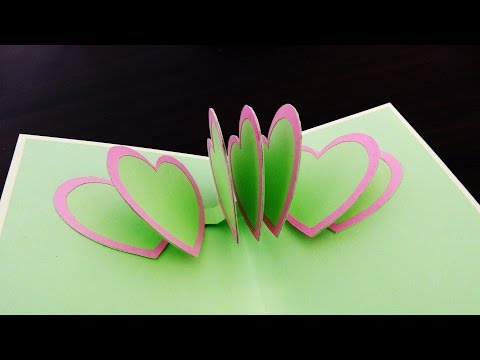 Pop up card (heart to heart) - how to make a greeting card with pop up connected hearts - EzyCraft