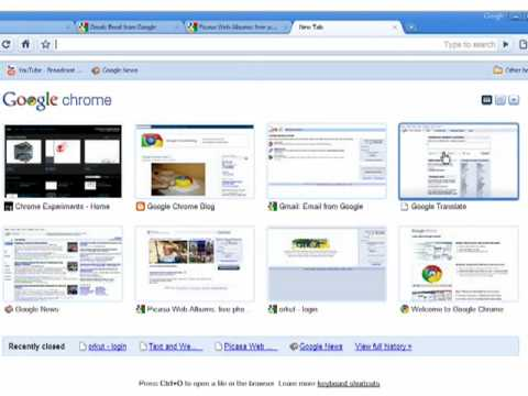 Google Chrome: The New Tab page