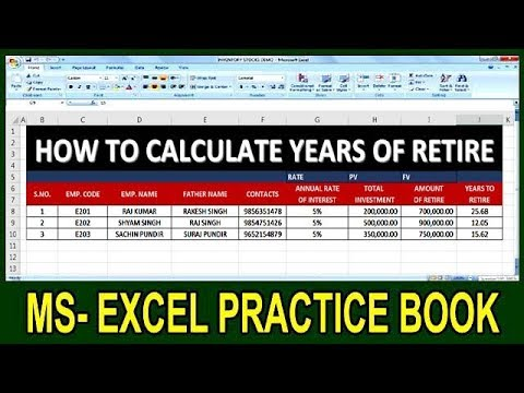 Exercise 89 How To Calculate Years Of Retire In Ms Excel