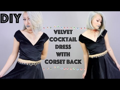 DIY: Velvet Cocktail Dress W/ Corset Lace Up Back