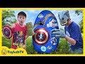 Dinosaurs Vs Avengers Giant Surprise Egg Jurassic World Fallen Kingdom Infinity War Superhero Toys