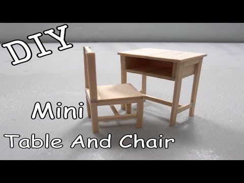 DIY Mini Classroom Table and Chair #17 (Popsicle Stick)
