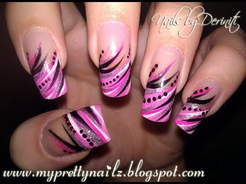 DIVA TIPS - Exotic Freehand French Tips Using Nail Art Striper Paint - Easy Tutorial