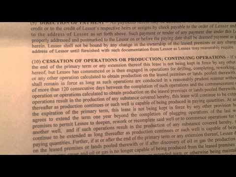 Lets look at a Standard Oil and Gas Lease contract
