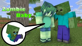 Monster School : Zombie got  a new baby  - sad minecraft animation