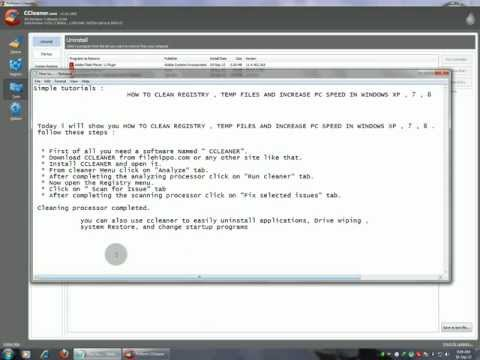 [SIMPLE TUTORIAL] HOW TO CLEAN REGISTRY , TEMP FILES AND INCREASE PC SPEED IN WINDOWS XP , 7 , 8