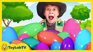 Easter Eggs Hunt Surprise Toys with GIANT SURPRISE EGGS & Playtime at the Park Family Fun Kids Video