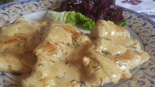 فيلي دجاج بالصلصة البيضاء بدون كريمة  Filet de dinde ou de poulet à la sauce blanche