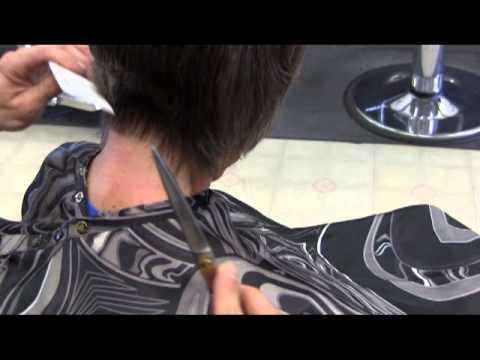 Medium to short woman's clipper & Point cut haircut video
