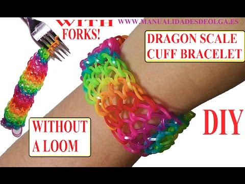 DRAGON SCALE CUFF BRACELET -How to make with forks. without rainbow loom