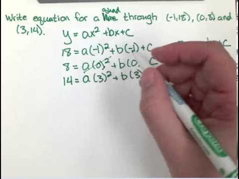 Find a quadratic through 3 points