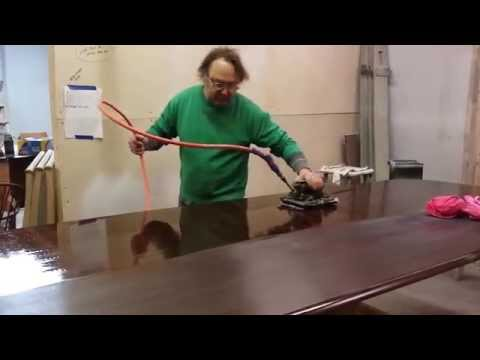 how to wet sand a large walnut table for a high gloss finish