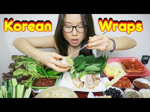 Korean Pork Belly Wraps MUKBANG