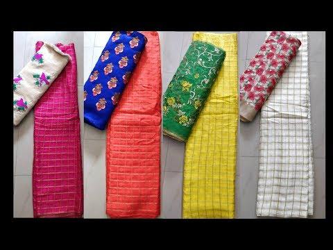 Top Trending Designer Chiffon Zari Checks Saree with Beautiful Embroidery Blouse(Price included) SEG