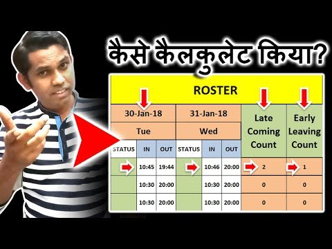 How to Create Presenty Roster in Excel? | Late Coming Count | Early Leaving Count