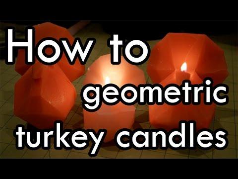 How to Make Geometric Turkey Candles : DIY