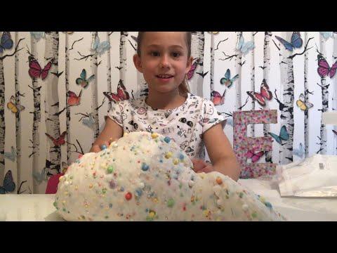 Making Birthday Cake Floam Slime