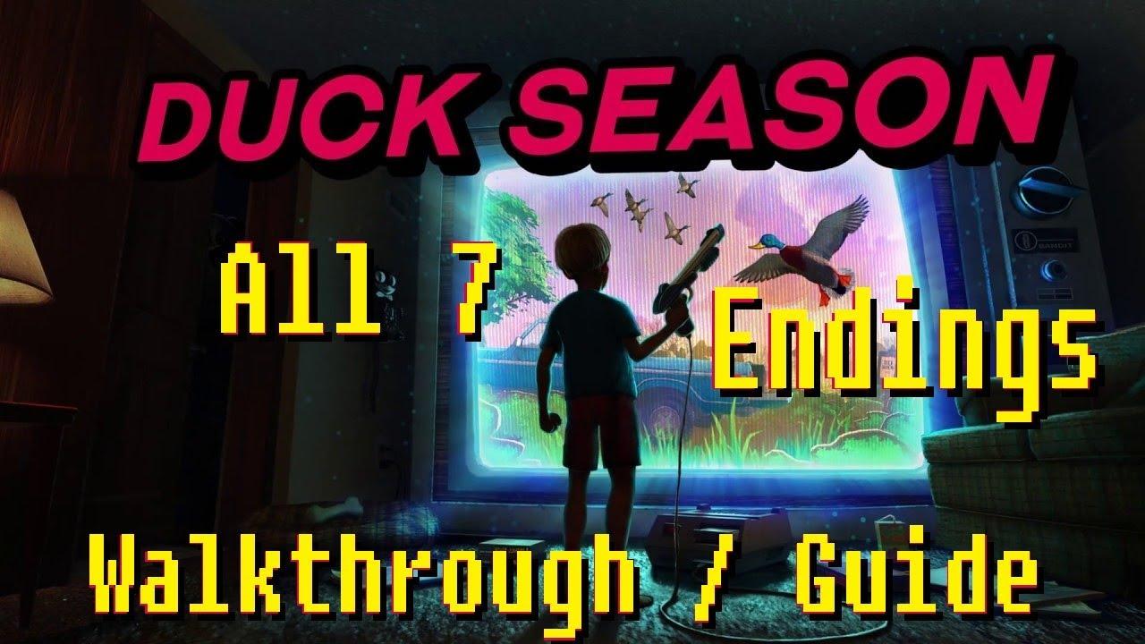 Duck Season - All 7 Endings Walkthrough/Guide (+ Wizard Book) (VR gameplay, no commentary)