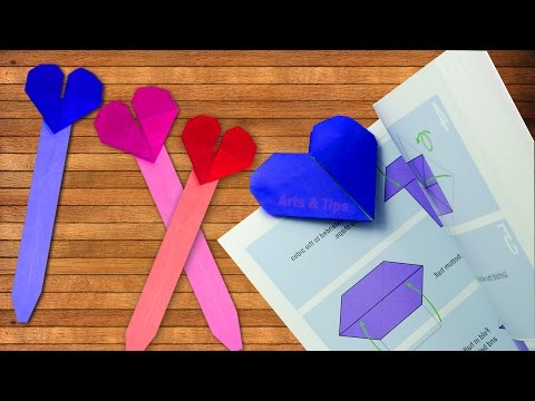 Make a Simple & Easy Origami Heart Paper Bookmark ❤ Origami Tutorial