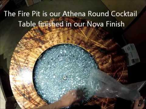 Athena Gas Fire Pit adding Fire Glass