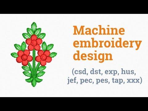 Three tiny red flowers. Machine embroidery design (emb, csd, dst, exp, hus, jef, pec, pes, tap, xxx)