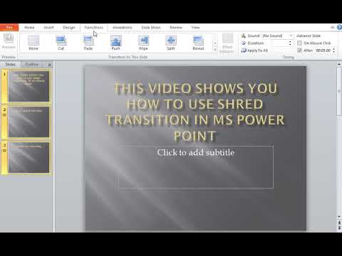 How to use Shred Transitions in MS Power Point