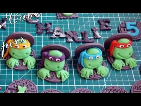 How to make Edible Teenage Mutant Ninja Turtles/TMNT/tutorial cake toppers