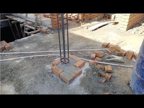 House column starter construction after slab concrete
