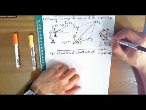 Statics Lecture 14:  Problem 2.1  Finding the Magnitude and Direction of the Resultant Force