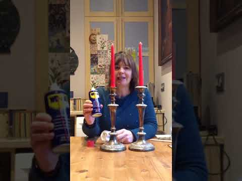 Using WD-40 on Silver Candle holder-Before and After