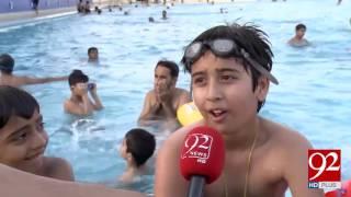 Karachi citizens enjoy pool services during extreme heat 15-04-2017 - 92NewsHDPlus