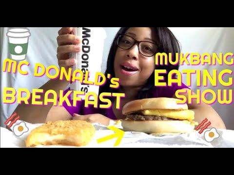 Mukbang Eating Show Mc Donalds Steak Egg Cheese Bagel & Hashbrown Breakfast 097