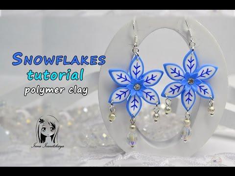 Earrings Snowflakes (millefiori cane) Polymer Clay Tutorial