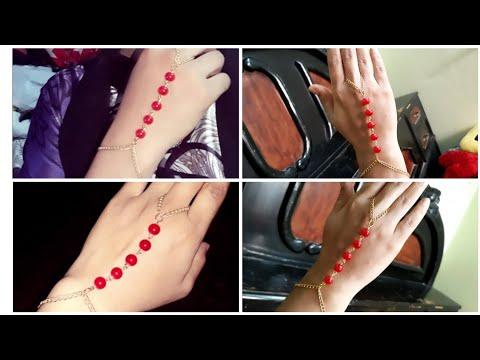 (DIY)HOW TO MAKE BEAUTIFUL ACCESSORIES HAND AND RIN BRACELET//HANDMADE JEWELLERY//HOORIYA STYLE