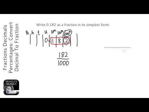 Fractions Decimals Percentages: Convert Decimal To Fraction (Grade 3) - OnMaths GCSE Maths Revision