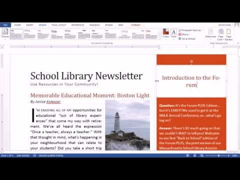 Formatting a Newsletter