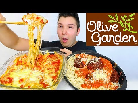 Cheesy Baked Ziti Mozzarella Parmesan Spaghetti • Olive Garden • MUKBANG