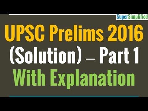 UPSC Prelims 2016 GS1 Solved Paper - Part 1
