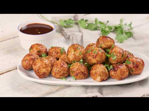 Cheddar Stuffed Meatballs with Sriracha Glaze
