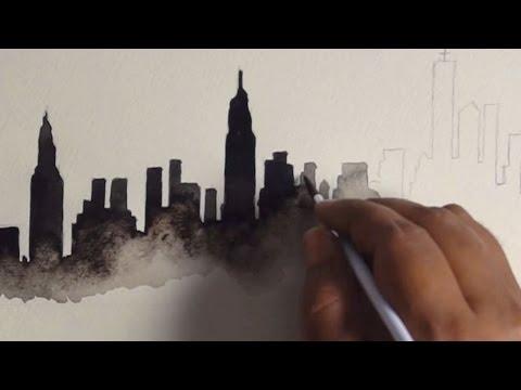 New York City Skyline Watercolor Painting