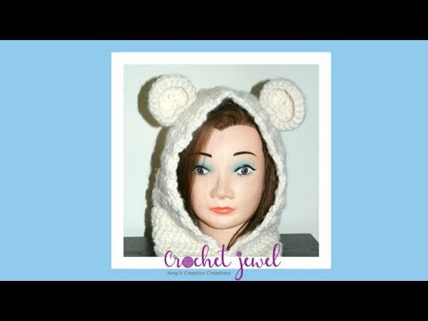 How To Crochet Adult Or Child Hooded Bear Cowl Part I Hooded Scarf
