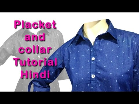 How to stitch placket and collar easy DIY tutorial hindi, placket and collar attaching hindi