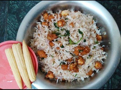 Baby Corn Fried Rice recipe in Tamil by AARTHI CAFE   Recipe No - 91